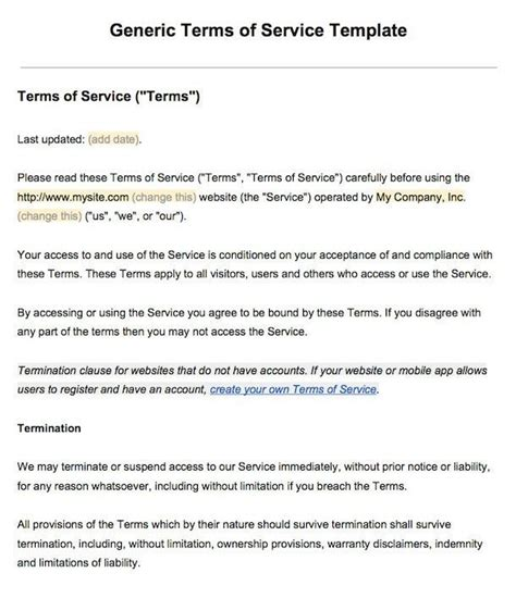 terms of use template sle terms of service template termsfeed