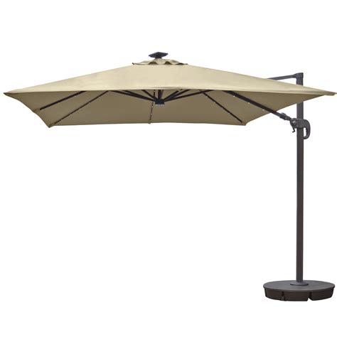 Solar Patio Umbrellas Island Umbrella Santorini Ii 10 Ft Square Cantilever Solar Patio Umbrella In Beige