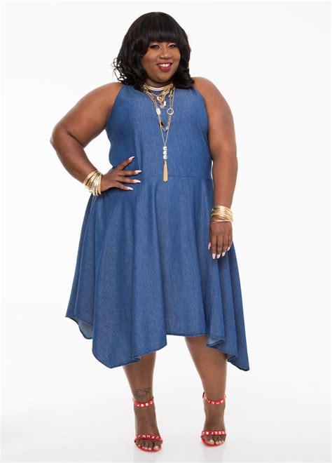 Kr378 Denim Dress 1 hanky hem denim dress plus size dresses stewart 010 pa4387x