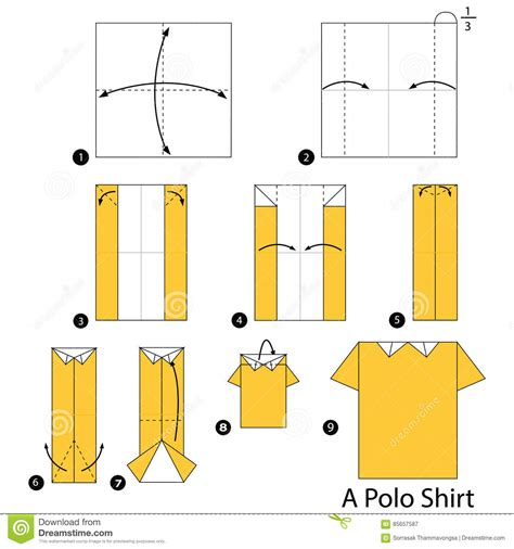 Steps To Make Paper - step by step how to make origami a polo shirt