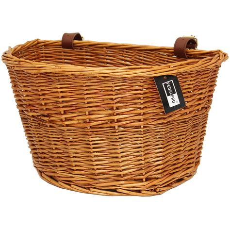 bike basket pedalpro vintage wicker bicycle basket with leather straps bike cycle shopping ebay