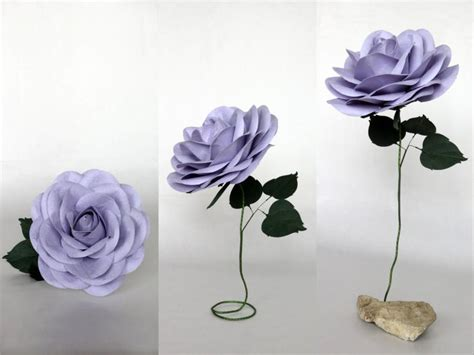 How To Make Stems For Paper Flowers - paper flower with stem lilac oversized