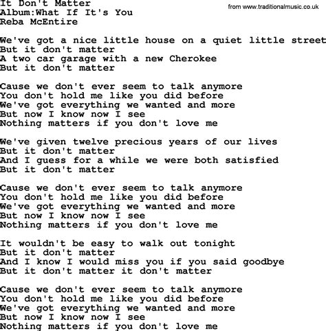 song t it don t matter by reba mcentire lyrics