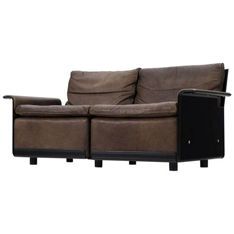 vitsoe sofa dieter rams 620 sofa in patinated brown leather for