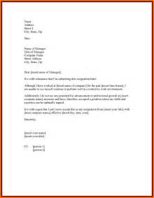 Professional Resignation Letter Exles by 9 Professional Resignation Letter Sle With Notice Period Letter Format For