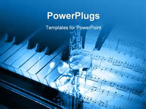 powerpoint template an open music note page and a piano