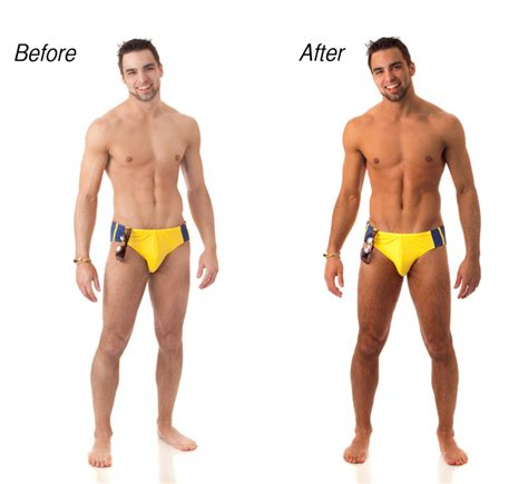before and after shots of males with pubic hair and then with it removed bronze me brazilian before and after