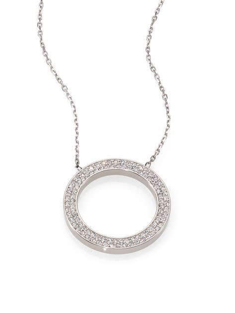 michael kors pav 201 circle pendant necklace silvertone in