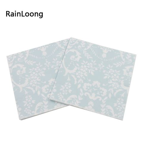 Tissue Napkin 33x40 3 rainloong 2 ply lt blue printed feature flower paper napkin decoration tissue decoupage
