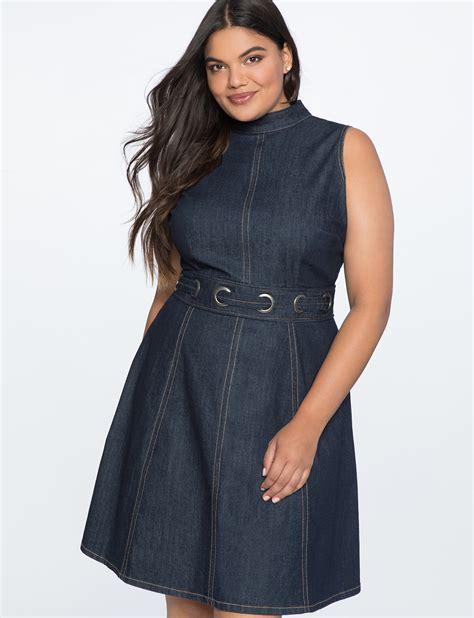 A Line Denim Dress a line denim dress with grommet detail s plus size