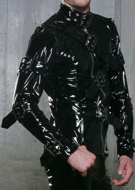 lip service mens black pvc jacket metal