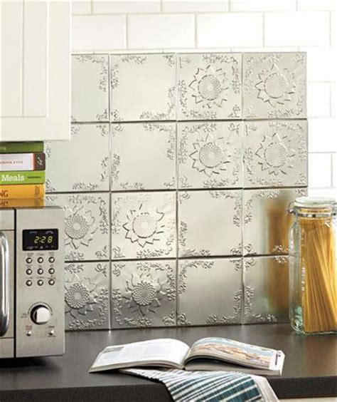 Adhesive Backsplash Tiles For Kitchen | set of 16 embossed self adhesive silver tin kitchen bath