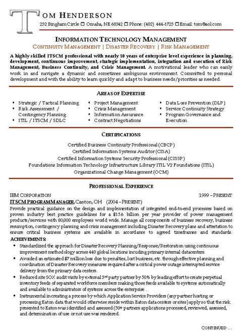 Management Resume by Risk Management Resume Exle Sle Management Resumes