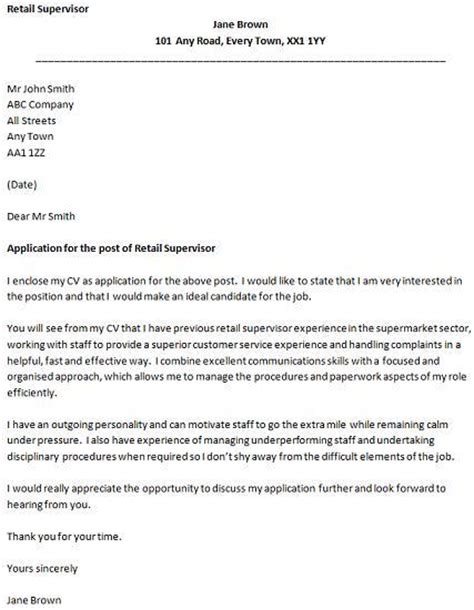 Retail Supervisor Cover Letter Example   icover.org.uk