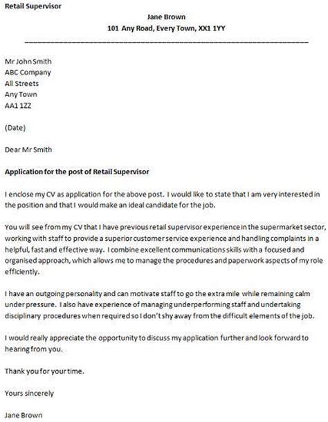 Retail Supervisor Cover Letter Example   icover.org.uk