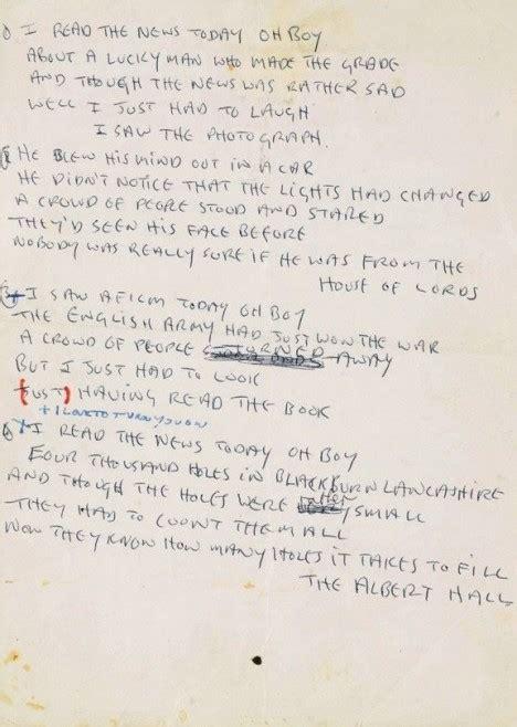 beatles lyrics lennon lyrics sell for 1 2m