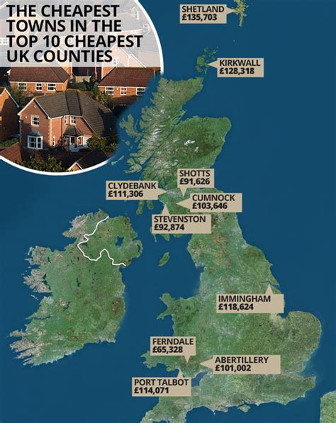 where is the cheapest place to live the cheapest towns to buy a home in the uk revealed