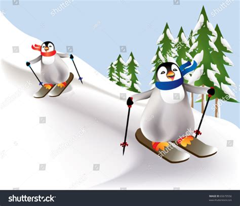 colorful penguins colorful penguins skiing tree lined stock vector