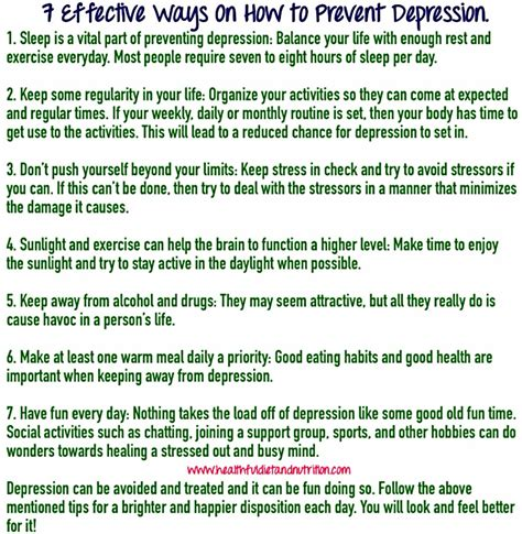 3 Efficient Ways To Prevent 7 Effective Ways On How To Prevent Depression Healthful Diet And Nutrition