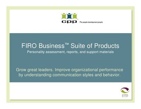 Business School Mba Profile Evaluation by Firo Business Assessment Suite