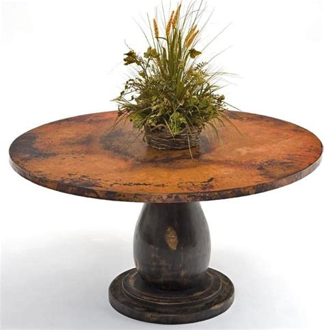 copper dining table wood pedestal base traditional