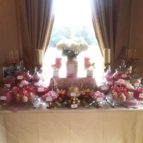 coral table l wedding dessert table in gold and corals buffets l