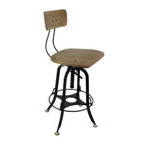 Industrial Bar Stool With Wood Top by Industrial Iron Bar Stool With Wood Top Brass