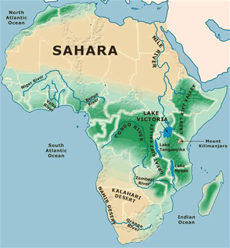 africa map mountains map of africa physical picture