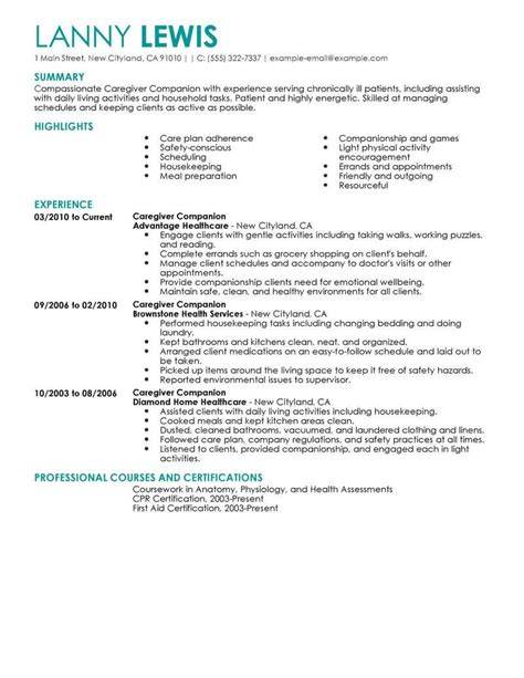 Companion Caregiver Sle Resume by Best Caregivers Companions Resume Exle Livecareer