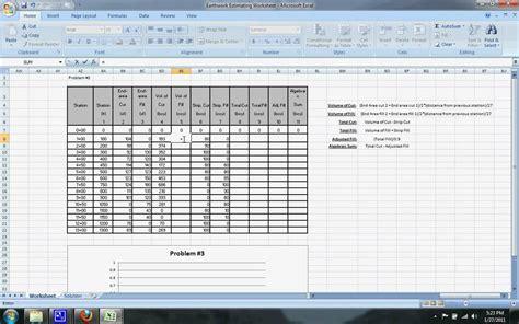 Earthwork Estimating Spreadsheet by Earthwork Estimating Exle 3