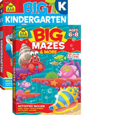 School Zone Kindergarten Stickers And More Workbook kindergarten big book learning activity collection