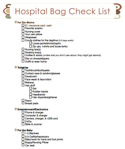 hospital checklist for c section delivery packing a hospital bag a printable checklist thriving home