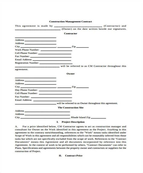 8 Management Contract Templates Word Docs Free Premium Templates Construction Management Agreement Template