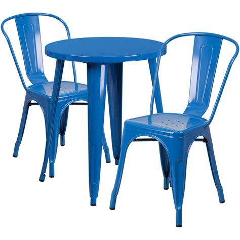 blue outdoor table and chairs 24 blue metal indoor outdoor table set with 2 cafe