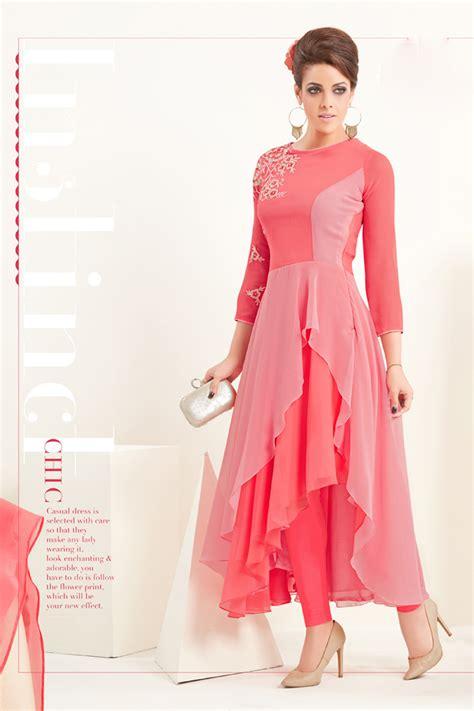 Sas Hivie Tunik Blouse Atasan pink semi georgette stylish kurti sas 8022 kurti designs
