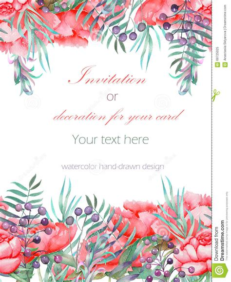 Mirkwood Designs Flower Card Template by Watercolor Illustration Floral Wreath With Leaves