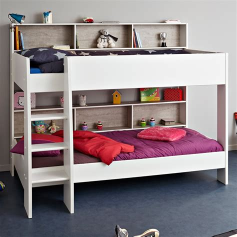 Beds And Bunks Childrens Bunk Bed In White Grey Tam Tam Bunk Beds