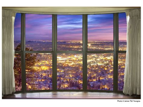 window with a view city lights bay window view 32 x48 x1 25 premium canvas