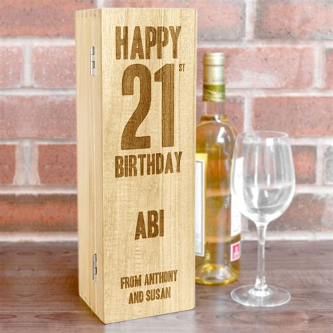 birthday wine personalised wooden wine box with hinged lid happy 21st