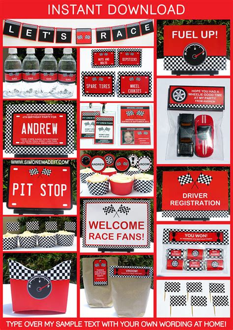 printable cars party decorations race car birthday party printables party decorations