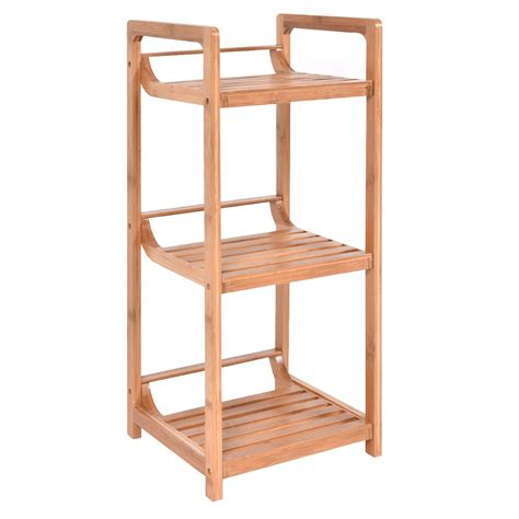 3 tier bamboo bathroom storage rack towel racks