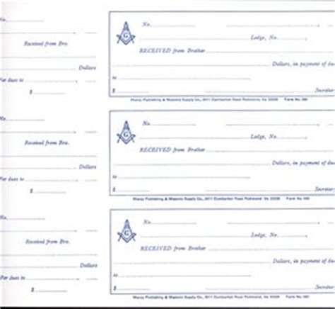 masonic dues card template masonic s receipts book