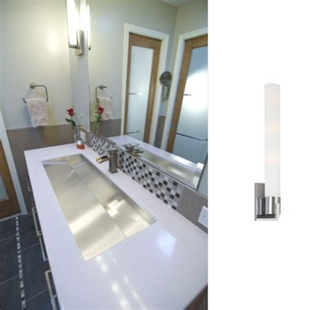 modern bathroom sconce modern wall sconce completes contemporary bathroom remodel blog barnlightelectric com