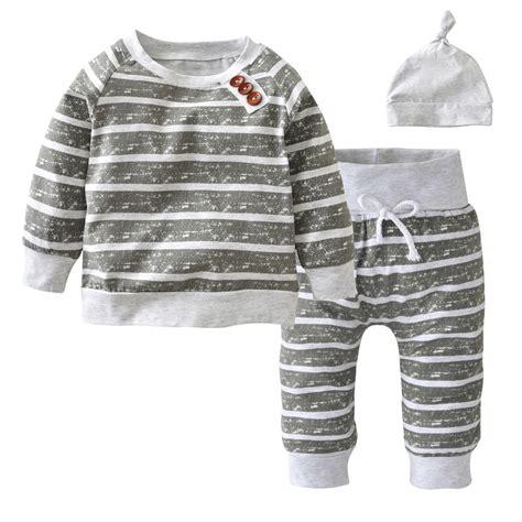 3 Pcs Set Baby Boy Print Clothing Sets 3pcs Set Baby Clothing Sets 2017 Autumn Baby Boys Clothes Infant Striped T Shirt Hat