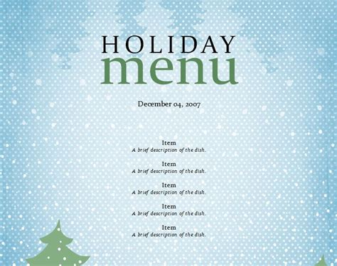 holiday menu template holiday menu design templates