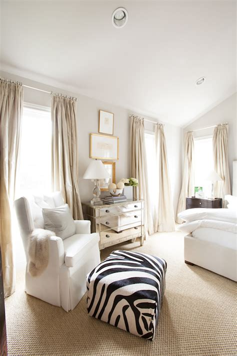 curtains for vaulted ceilings zebra ottoman transitional bedroom ashley goforth design