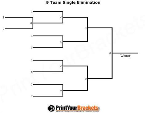 elimination tournament bracket template 9 team seeded single elimination printable tournament