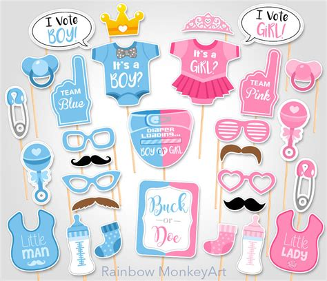free printable gender reveal photo booth props gender reveal baby shower photo props buck or doe baby