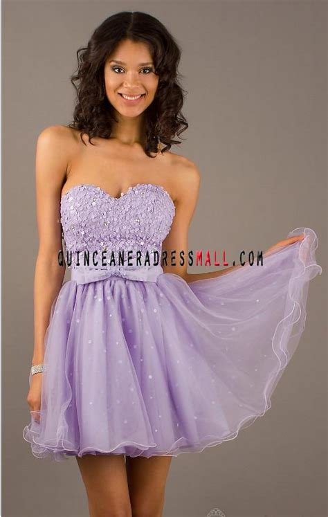 2014 New Lilac Sequins Bowknot Tulle Short Prom Dress