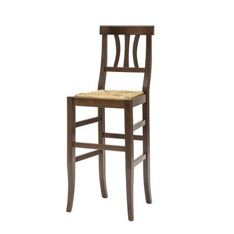 seduta sgabello sgabello country in legno color noce con seduta in paglia
